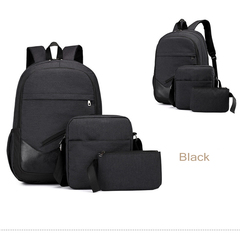 GIHG 3pcs/Set Mens Backpacks  Travel Nylon Backpacks Teen Shoulder School Bags Clutch Bags black one size
