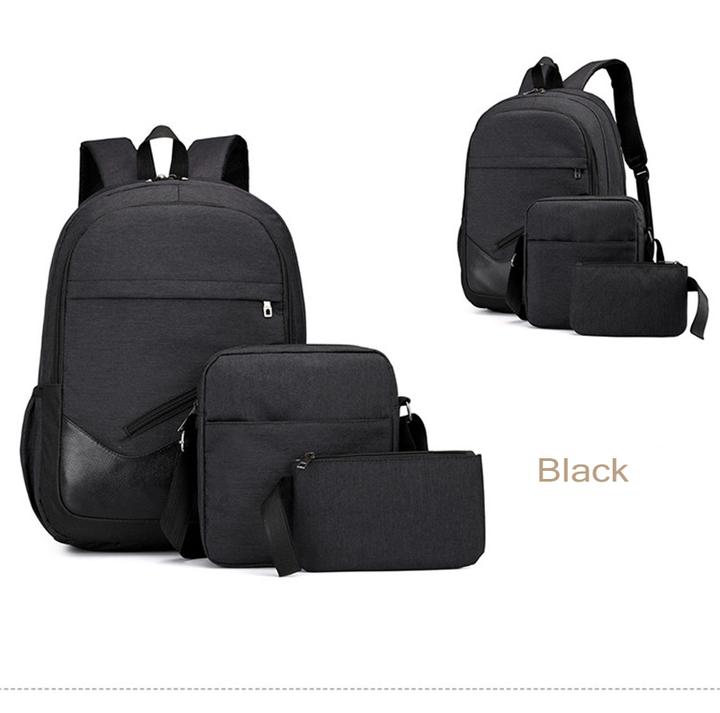 GIHG 3pcs/Set Mens Backpacks  Travel Nylon Backpacks Teen Shoulder School Bags Clutch Bags black one size