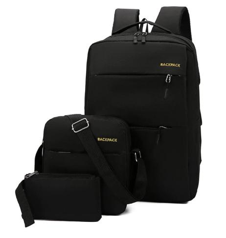 GIHG 2019 Oxford Backpack 3 Pcs/set School Backpacks Shoulder Bag For Teenagers Man Student Book Bag black one size