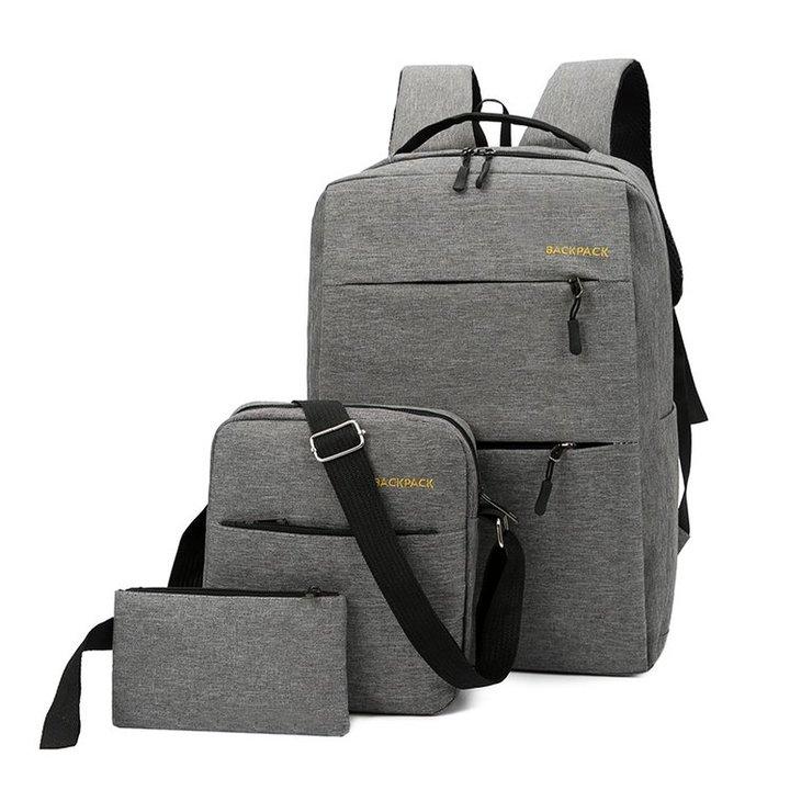 GIHG 2019 Oxford Backpack 3 Pcs/set School Backpacks Shoulder Bag For Teenagers Man Student Book Bag light gray one size