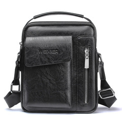 Vintage Men's Leather Casual Messenger Bag Cross-body Tote Handbag Shoulder Bag black one size