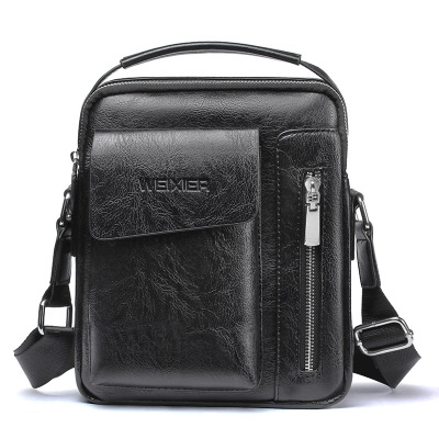 Vintage Men's Leather Casual Messenger Bag Cross-body Tote Handbag Shoulder Bag black one size