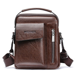 Vintage Men's Leather Casual Messenger Bag Cross-body Tote Handbag Shoulder Bag dark brown one size