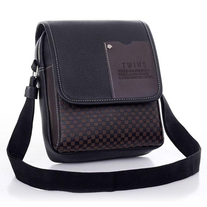 Leather Messenger Bag Men's Handbag Brown Briefcase Laptop Shoulder Bag black one size