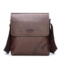 Men's  Casual Leather Shoulder Bag Business Messenger Bag brown 24CM X 5CM X 25CM