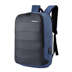 Large Capacity Usb Charging Business Men Backpack Waterproof Nylon Travel Backpack blue 30cm x 15cm x 45cm