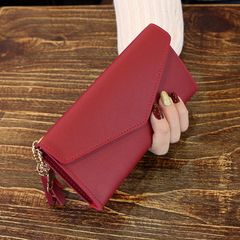 KIKO Long Wallet Women Fashion Coin Purse Card Holder Wallets High Quality Clutch  PU Leather Wallet red wine 13.4*1*9cm