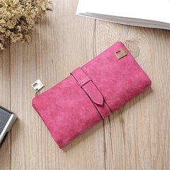 KIKO Women Wallets Matte Leather Wallet Female Coin Purse Wallet Card Holder Wristlet Money Bag rose red 18*9*2cm