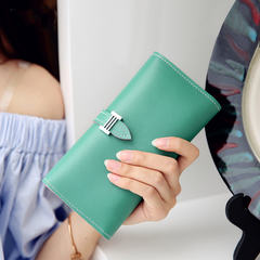 KIKO New Women's Wallet Korean Version Of The Tide Belt Large-capacity Fashion Multi-card Wallet green 18.5*9*3cm
