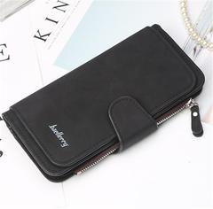 KIKO 2019 New Big Three Fold Fashion Women's Bag Multi-card Women's Wallet Matte Two-color Fabric black 18.8*10.5*1.8cm