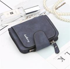 KIKO 2019 New ladies wallet buckle scrub leather purse cute small fresh student wallet navy 11.5*9.5*1.8cm