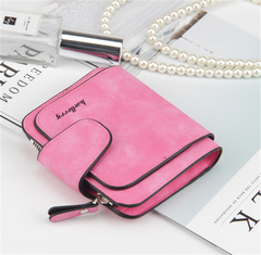 KIKO 2019 New ladies wallet buckle scrub leather purse cute small fresh student wallet rose red 11.5*9.5*1.8cm