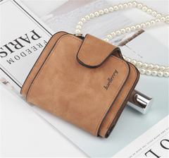 KIKO 2019 New ladies wallet buckle scrub leather purse cute small fresh student wallet brown 11.5*9.5*1.8cm