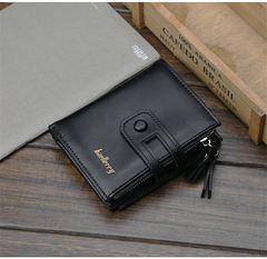 KIKO 2019 New Men's Wallet  Buckle Retro Wallet Multi-function Zipper Coin Purse black 12*10*3cm