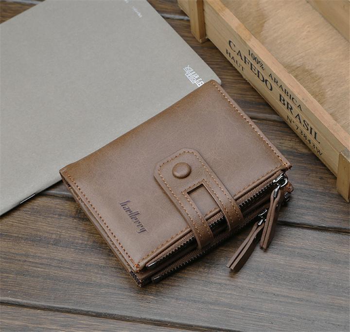 KIKO 2019 New Men's Wallet  Buckle Retro Wallet Multi-function Zipper Coin Purse khaki 12*10*3cm