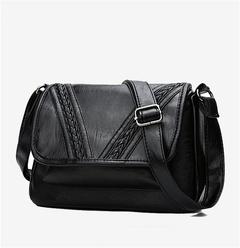 2019 New PU single shoulder bag European and American simple wild diagonal package Handbags black one size