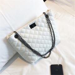 Ins chain bag simple tote lading shoulder bag handbag white 32*10*21(cm)