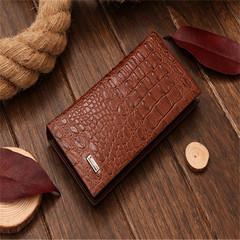 KIKO Man's long wallet with crocodile pattern brown 19*10*1.5