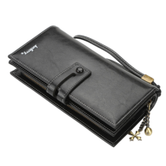Women's Bags Long Wallets zip PU Wax paper black 20*11*3