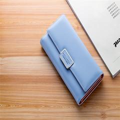 New Korean style Women' Wallet simple fashion envelope buckle three fold sky blue 19*10*2.8