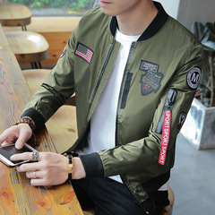 Spring Autumn Men's Jackets Military Fashion Coats Male Casual Slim Stand Collar Jacket Black L