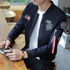 Spring Autumn Men's Jackets Military Fashion Coats Male Casual Slim Stand Collar Jacket Dark Blue L