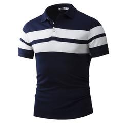 Men's Leisure Fashion Sports Short Sleeve T shirt Cotton Tops Polo Shirt Black L Cotton