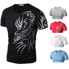 Men O-Neck Pattern Print Polo Shirt Short Sleeve T-shirt black m cotton