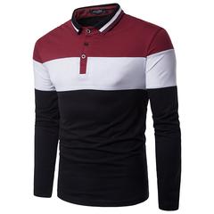 Fashion Color Block Rib Turndown Collar Panel Design T-shirt polo shirt red l cotton