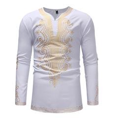 Men African Print Long Sleeve Summer Casual T-Shirt Top white 3xl cotton