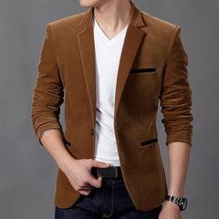 Mens Autunm Winter Casual Slim Fit Blazers and Jackets Male Business Suit blazer Khaki m