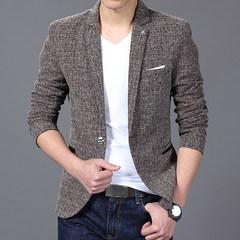Men's Fashion Solid Linen Personality Pocket Male Jacket Single-Breasted Single Button Suit Coat khaki 3xl
