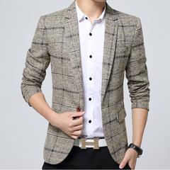 Blazer Mens knitting Plaid Suit Fashion Single Button Casual Silm Business men Suit jacket Coat khaki 4xl