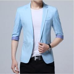 Men Summer Half Sleeve Fashion Slim Business Suit Coat Blazer Jackct Sky Blue 4xl
