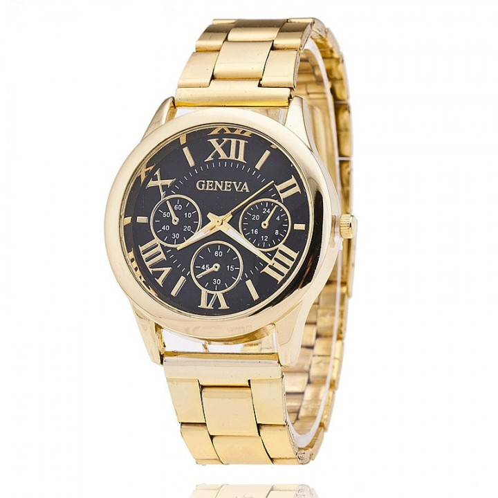 New Stainless Steel Geneva Watch Men Gold Watches Watched Luxury Men Business Quartz Watch Black