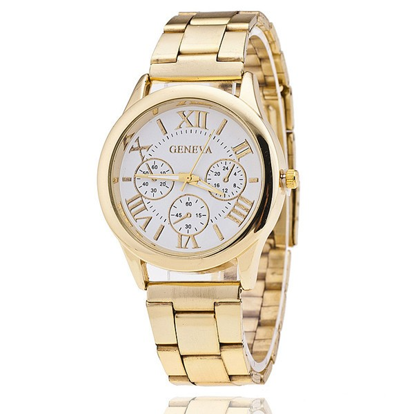New Stainless Steel Geneva Watch Men Gold Watches Watched Luxury Men Business Quartz Watch White