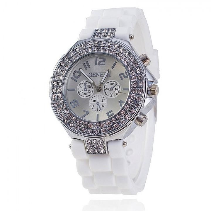 Fashion Silicone GENEVA Watch Crystal Silicone Jelly Watches Watched Women Rhinestone Watch white
