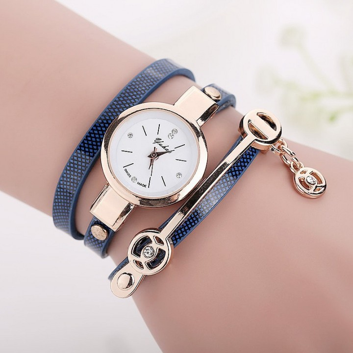 New Women Long Leather Bracelet Watches Gold Fashion Quartz Watch Casual Wrist Watch Relojes Mujer Blue
