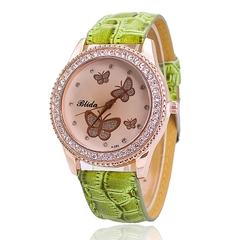 Fashion Leather Butterfly Watch Luxury Women Rhinestone Quartz Watch Girls Casual Wrist Watches Green