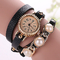 Fashion Women Gold Dial Leather Bracelet Watch black