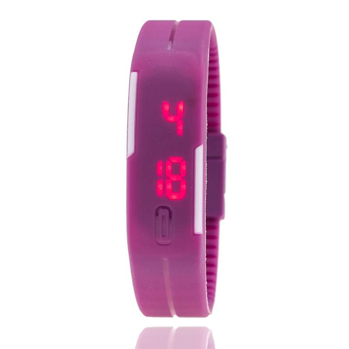 Touch Screen Square Silicone Digital Watches Relojes Mujer Digitales Sport Waterproof LED Watch Purple