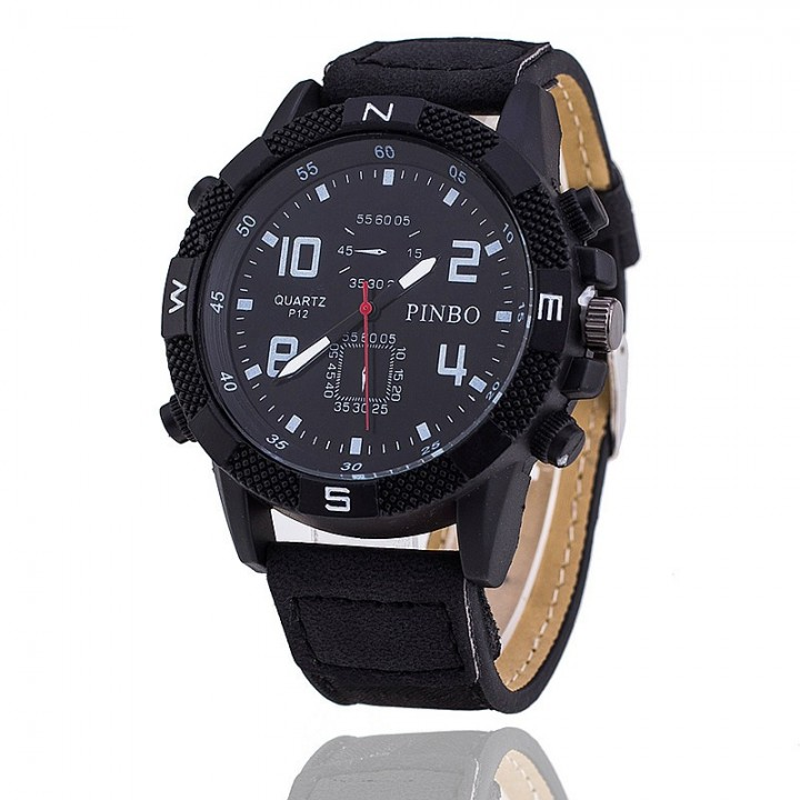 New Fashion Men Watch Casual Leather Sports Watches Men Military Wrist Watches Relogio Masculino Black