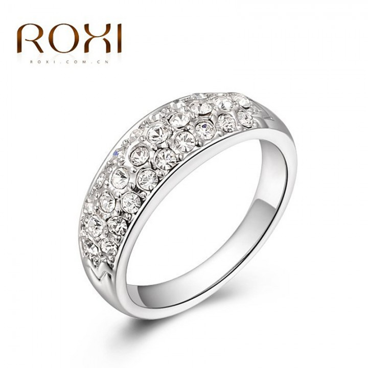 Three rows of genuine Austrian crystal mosaic gold plated diamond ring silver 7
