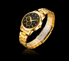 2016 Original  Full Steel Men's Business Watches Fashion Wrist Watch Waterproof Reloj gold watches Black