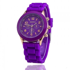 GENEVA Watch Fashion Women Jelly Sport Watches Unisex Casual Quartz Analog Watch Purple
