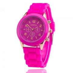 GENEVA Watch Fashion Women Jelly Sport Watches Unisex Casual Quartz Analog Watch Rose red