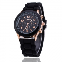 GENEVA Watch Fashion Women Jelly Sport Watches Unisex Casual Quartz Analog Watch black