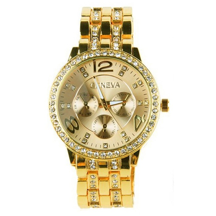 Hot Fashion Rose Goldm Full Steel Rhinestone Analog Quartz Geneva Women Dress Watches gold