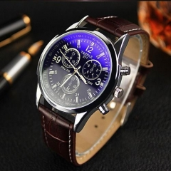 KIOP Men's Luxury Fashion Faux Leather Mens Blue Ray Glass Quartz Analog Watches brown