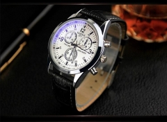 KIOP Men's Luxury Fashion Faux Leather Mens Blue Ray Glass Quartz Analog Watches black